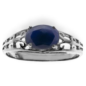 SOLID GOLD FILIGREE RING WITH NATURAL SAPPHIRE
